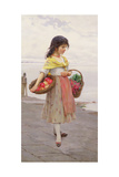 Young Girl Selling Fruits and Vegetables Giclee Print by Eugen Von Blaas