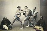 Sumotori or Wrestlers, C.1870-1880 Giclee Print by Felice Beato