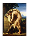 A Shepherd Weeping on a Tomb Erected to a Gnat, 1808 Giclée-tryk af Felix Boisselier