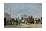 Beach Scene at Trouville; Scene De Plage a Trouville, 1864 Giclee Print by Eugene Louis Boudin