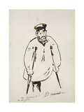 Man on Crutches (Graphite with Reed Pen and Black Ink on Fine-Textured White Paper) Giclee Print by Edouard Manet