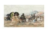 Trouville, Beach Scene; Trouville, Scene De Plage, 1886 Giclee Print by Eugene Louis Boudin