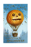 A Halloween Pumpkin Hot Air Balloon, 1909 Giclee Print by Ellen Hattie Clapsaddle