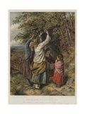Children Nut-Gathering Giclee Print by Edward John Cobbett