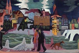 View of Basel and the Rhine, 1927-28 Giclee Print by Ernst Ludwig Kirchner