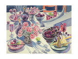 Black Maroon and White Kitchen Table Giclee Print by Elizabeth Jane Lloyd