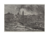 The Late Flood of the Arno at Florence Giclee Print by Edward William Cooke