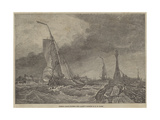 French Lugger Running into Calais Giclee Print by Edward William Cooke