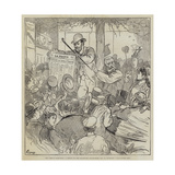 The French Elections, a Sketch on the Boulevard Montmartre, 15 October, Midnight, Une Fausse Joie Giclee Print by Felix Regamey