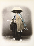 A Japanese Samurai in Traditional Costume, C.1868 (Hand Tinted Albumen Print) Photographic Print by Felice Beato