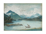 View of Lake Geneva with a Man Rowing a Small Boat and Two Swans Giclee Print by Elisabeth Louise Vigee-LeBrun