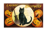 Halloween Greetings with Black Cat and Carved Pumpkins, 1909 Giclee Print by Ellen Hattie Clapsaddle