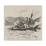 The Stranding of HMS Howe on Pereiro Reefs, at the Mouth of Ferrol Harbour, Spain Giclee Print by Eduardo de Martino