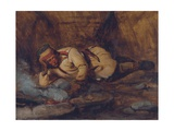 A Laplander Asleep by a Fire Giclee Print by Francois Auguste Biard
