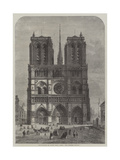 Restoration of Notre Dame, Paris, the Western Facade Giclee Print by Felix Thorigny