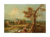An Italianate River Landscape Giclee Print by Francesco Zuccarelli