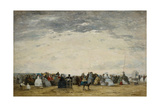 Vacationers on the Beach at Trouville, 1864 Giclee Print by Eugene Louis Boudin