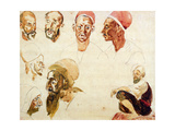 Sketches of Heads Giclee Print by Ferdinand Victor Eugene Delacroix