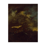 Two Vessels in a Storm Giclee Print by Francesco Guardi