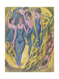 Trapeze Artists in Blue, 1914 Giclee Print by Ernst Ludwig Kirchner