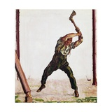 Woodcutter, 1910 Gicléetryck av Ferdinand Hodler