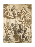 The Madonna Del Popolo, after Barocci (Black Chalk with Brownish Wash on Beige Paper) Giclee Print by Francesco Vanni
