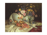 Still Life of Flowers in a Chinese Vase with Pomegranates Giclee Print by Eugene Henri Cauchois
