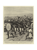 The Advance in the Soudan, the 9th Soudanese Welcoming the Camerons on their Arrival at Berber Giclee Print by Frank Dadd