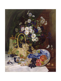 Still Life with Flowers and Fruit Giclee Print by Eugene Henri Cauchois