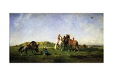 Falconry in Algeria, 1862 Giclee Print by Eugene Fromentin