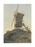 Windmill on a Knoll in a Landscape Giclee Print by Francois Louis Thomas Francia