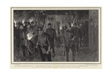 The Torchlight Procession from Friedrichshof Approaching Cronberg Parish Church Giclee Print by Frank Craig