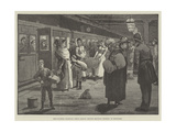 Hop-Pickers Starting from London Bridge Railway Station at Midnight Giclee Print by Enoch Ward