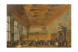 Audience Granted by the Doge of Venice in the College Room of Doge's Palace, C.1766-70 Giclee Print by Francesco Guardi