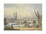 London Bridge and the Monument, C.1795 Giclee Print by Francis Nicholson