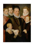 George, 5th Lord Seton (1531-95) and Family, 1572 (Panel) Giclee Print by Frans II Pourbus