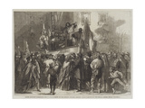 Padre Giovanni Addressing the People in Front of the Jesuits' College, Naples Giclee Print by Frank Vizetelly
