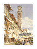 The Piazza Delle Erbe, Verona, June - September 1884 (Watercolour over Graphite on Wove Paper) Giclee Print by Frank Randal