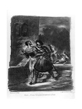 Mephistopheles and Faust Escaping after Valentine's Death Giclee Print by Ferdinand Victor Eugene Delacroix