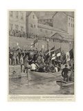 En Route for the Greek Frontier, English Volunteers Embarking at Corfu Giclee Print by Frank Dadd