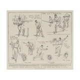 England Versus Australia, Sketches at the Third Test Match at Leeds Giclee Print by Frank Gillett