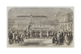 The British Brigade Marching into the Largo St Francesco Di Paola, Naples Giclée-Druck von Frank Vizetelly
