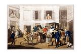 Inn Yard at Calais, Pub. by William Holland, London, 1790 (Hand-Coloured Aquatint) Giclee Print by Frederick George Byron