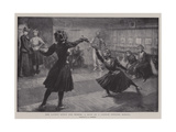 The Latest Sport for Women, a Bout in a London Fencing School Giclee Print by Frederick Henry Townsend