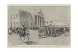The Garrison of Kimberley, Parade of Kimberley Rifles before Colonel Kekewich Reproduction procédé giclée par Frederic De Haenen