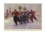 Volendam Peasants Going to Market, a Winter Scene Near Amsterdam Impression giclée par Frederic De Haenen