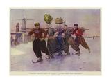 Volendam Peasants Going to Market, a Winter Scene Near Amsterdam Giclée-tryk af Frederic De Haenen