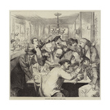Discussing the War in a Paris Cafe Giclee Print by Frederick Barnard