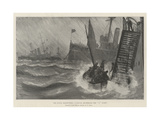 The Naval Manoeuvres, a Rough Anchorage for X Fleet Giclee-trykk av Fred T. Jane