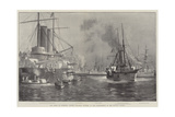 The Crisis at Zanzibar, British War-Ships Engaged in the Bombardment of the Sultan's Palace Giclee-trykk av Fred T. Jane